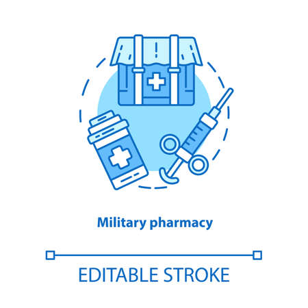 Pharmacy concept icon. Military wound and disease treatment idea thin line illustration. Field medication. Combat zone medicine and medical equipment. Vector isolated outline drawing. Editable stroke Ilustração