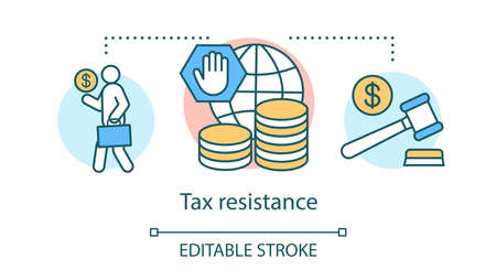 Tax resistance concept icon. Civil disobedience, government manifestation idea thin line illustration. Taxpayer with suitcase, cash and judge gavel vector isolated outline drawing. Editable stroke