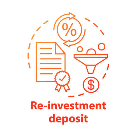 Savings concept icon. Reinvestment deposit idea thin line illustration. Creating investment account. Full profit, interest percentage withdrawal. Vector isolated outline drawing