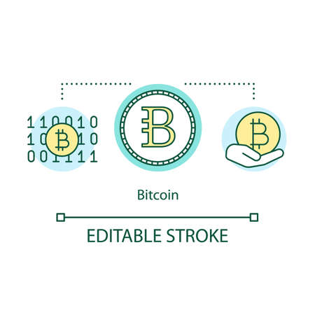 Bitcoin concept icon. Cryptocurrency blockchain idea thin line illustration. Virtual internet money. Electronic payment. Digital currency. Vector isolated outline drawing. Editable stroke