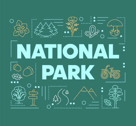 National park word concepts banner. Mountains and woods. Forest reserve. Natural foliage. Presentation, website. Isolated lettering typography idea with linear icons. Vector outline illustration