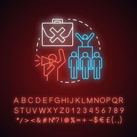 Work protest neon light concept icon. Social demonstration, union strike idea. Glowing sign with alphabet, numbers and symbols. Angry workers, protesters with megaphone vector isolated illustration