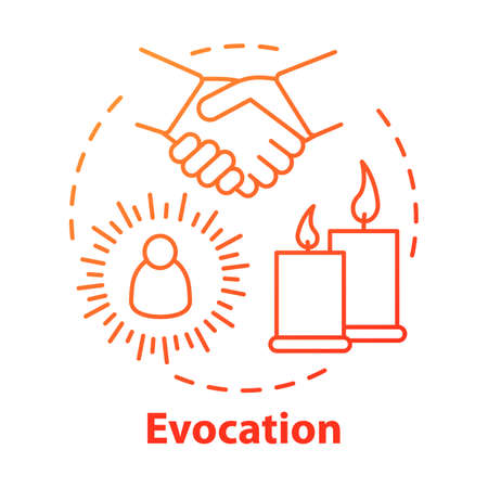 Evocation concept icon. Spiritualistic session, divination service. Occultism and esoterics idea thin line illustration. Candles and holding hands vector isolated outline drawing. spirits conjuration