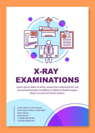 X-ray examination brochure template layout. Roentgen. Flyer, booklet, leaflet print design, linear illustrations. Radiological survey. Vector page layouts for annual reports, advertising posters Stock Illustratie