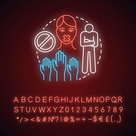Silent protest neon light concept icon. Nonviolent resistance idea. Glowing sign with alphabet, numbers and symbols. Raised hands, stop sign, protester with taped mouth vector isolated illustration Иллюстрация