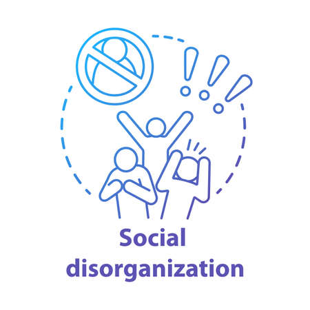 Social disorganization concept icon. Behavioral problems thin line illustration. Crimes against humanity, discrimination. Social conflicts & bullying. Vector isolated outline drawin Çizim