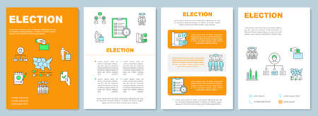 Election brochure template layout. Citizens ballot. Flyer, booklet, leaflet print design, linear illustrations. Holding voting. Vector page layouts for magazines, annual reports, advertising posters Stock Illustratie