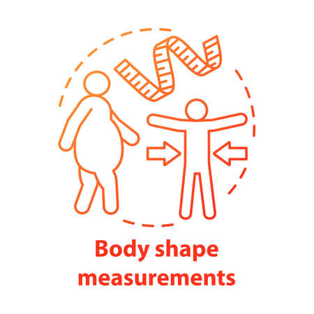 Body shape measuring concept icon. Fighting obesity, keeping fit, slim idea thin line illustration. Measuring tape. Controlling body mass. Vector isolated outline drawing. Editable stroke
