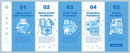 Pharmacy types onboarding mobile web pages vector template. Ambulatory care. Responsive smartphone website interface idea with linear illustrations. Webpage walkthrough step screens. Color concept