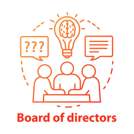 Board of directors concept icon. Business meeting, brainstorming idea thin line illustration. Corporate problem solving. Executive staff and top management. Vector isolated drawing