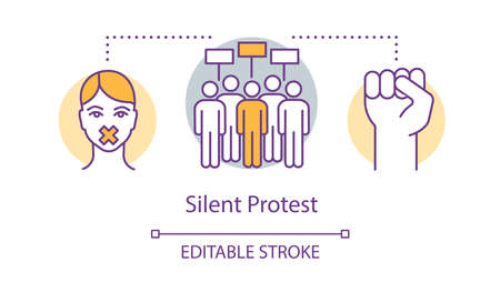 Silent protest concept icon. Civil disobedience, nonviolent resistance idea thin line illustration. Raised fist, protesters, activist with taped mouth vector isolated outline drawing. Editable stroke Иллюстрация