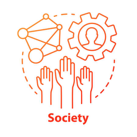 Society concept icon. Community, social integration and relations idea thin line illustration. Social responsibility, solidarity and tolerance. Vector isolated outline drawing Illusztráció