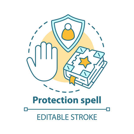 Protection spell concept icon. Occultism and superstition idea thin line illustration. Safety sorcery, security charm. Spellbook, shield and hand vector isolated outline drawing. Editable stroke