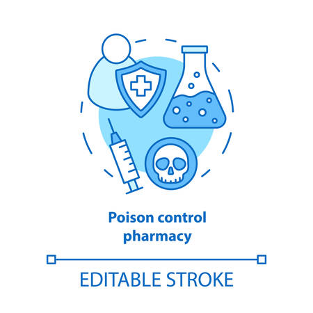 Pharmacy concept icon. Poisons control pharmacology branch idea thin line illustration. Poisonous element and antidote development. Vector isolated outline drawing. Editable stroke Illusztráció