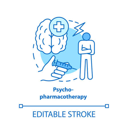 Psychopharmacotherapy concept icon. Pharmacy idea thin line illustration. Mental illness prescription drugs, medication. Psyche problems treatment. Vector isolated outline drawing. Editable stroke