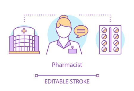 Pharmacy concept icon. Pharmacist, drug research expert idea thin line illustration. Profession in pharmaceuticals, pharmacology. Hospital worker. Vector isolated outline drawing. Editable stroke Illustration