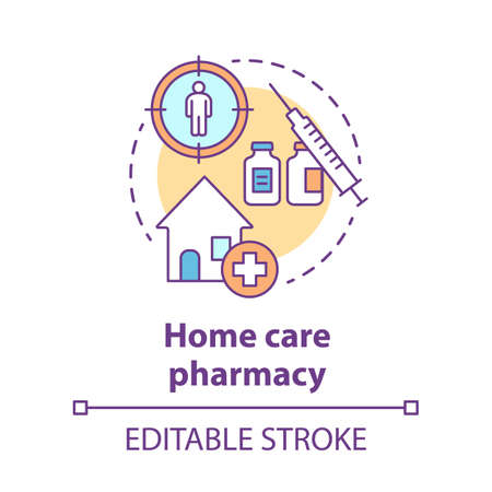 Pharmacy concept icon. Home care medication treatment idea thin line illustration. Drug store medicine prescription. Personal therapy schedule. Vector isolated outline drawing. Editable stroke