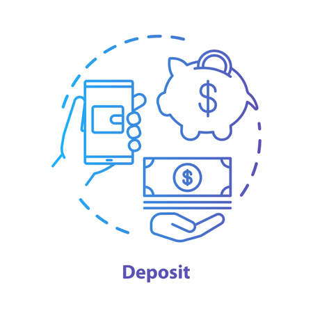 Deposit concept icon. Savings & investments. Casino deposit bonus idea thin line illustration. Digital wallet payment. Cash back and piggy bank. Vector isolated outline drawing Фото со стока - 129882148