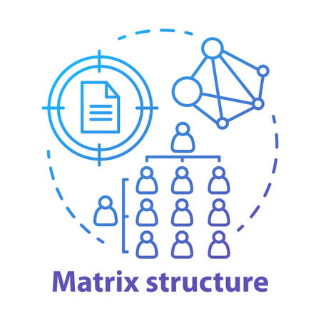 Matrix corporate structure concept icon. Company top management idea thin line illustration. Workflow organization. Staff interaction & workplace environment. Vector isolated drawing Ilustrace