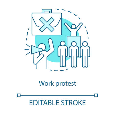 Work protest concept icon. Social demonstration, labor union strike, communism idea thin line illustration. Angry workers, protesters with megaphone vector isolated outline drawing. Editable stroke 向量圖像