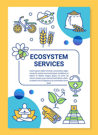 Ecosystem services poster template layout. Eco food harvesting. Sport activity. Banner, booklet, leaflet print design with linear icons. Vector brochure page layouts for magazines, advertising flyers Stock Illustratie