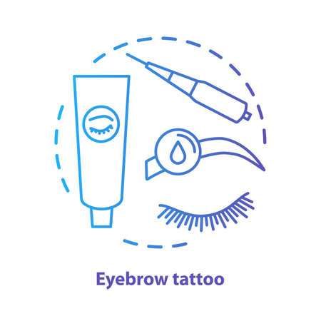 Eyebrow tattoo blue concept icon. Eye brows and eyelashes tinting, permanent makeup idea thin line illustration. Microblading. Blue gradient vector isolated outline drawing. Editable stroke