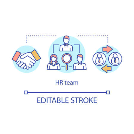 HR team concept icon. Employment service idea thin line illustration. Job offer. Recruitment, headhunting. Human resources management. Staff hiring. Vector isolated outline drawing. Editable stroke