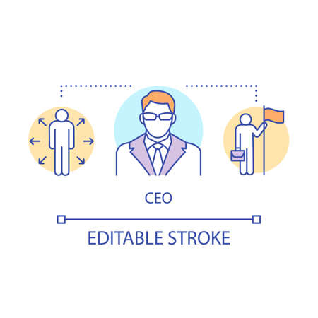 CEO concept icon. Company executive, vice president idea thin line illustration. Team leader, boss, top manager. Professional success. Vector isolated outline drawing. Editable stroke Vectores