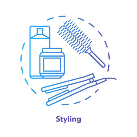 Hair styling blue concept icon. Hair care products and equipment idea thin line illustration. Hairdresser salon, hairstylist parlor. Blue gradient vector isolated outline drawing. Editable stroke