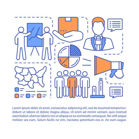 Business presentation article page vector template. Corporate training. Trade show. Brochure, magazine, booklet design element with linear icons. Print design. Concept illustrations with text space  イラスト・ベクター素材