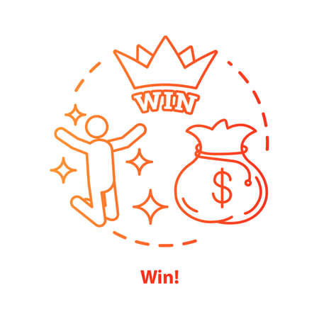 Win concept icon. Jackpot, success idea thin line illustration. Lottery, casino victory. Winner, champion. Sack of money prize. Good luck & fortune. Vector isolated outline drawing 写真素材 - 129882810