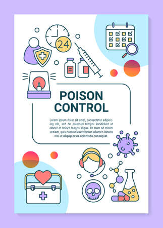 Emergency poison control poster template layout. Everyday hotline service. Banner, booklet, leaflet print design with linear icons. Vector brochure page layouts for magazines, advertising flyers
