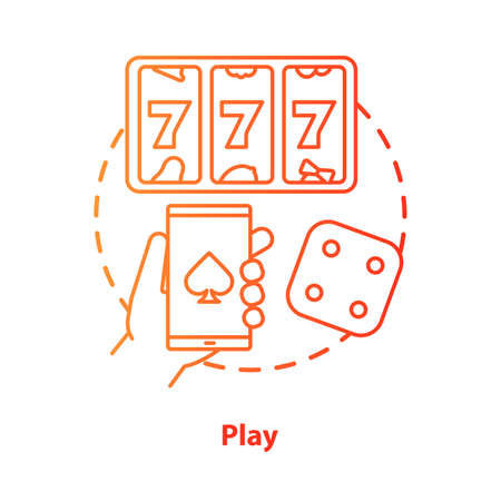 Play concept icon. Slots machine, one armed bandit games idea thin line illustration. Gambling addiction. Games of chance. Mobile casino and betting. Vector isolated outline drawing