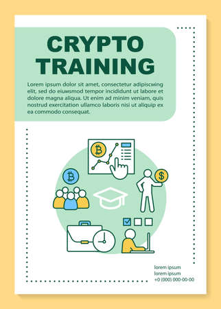 Crypto training poster template layout. Cryptocurrency trading analytics. Bitcoin business. Banner, booklet, leaflet print design with icons. Vector brochure layouts for magazines, advertising flyers