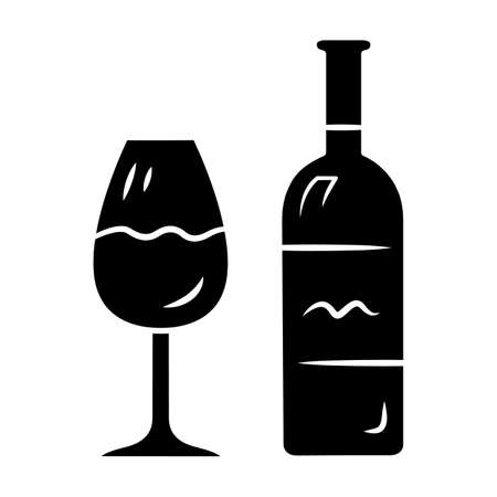 Wine glyph icon. Bottle and classic footed glass with wine. Vine tasting. Alcoholic beverage from fermented grapes or fruits. Silhouette symbol. Negative space. Vector isolated illustration 일러스트
