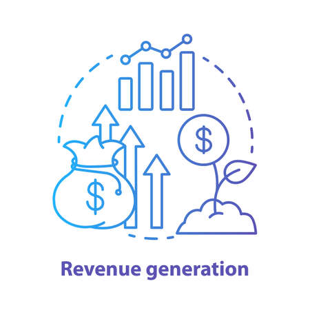 Revenue generation blue concept icon. Income increase idea thin line illustration. Business development. Sprout with dollar coin. Financing, budgeting. Vector isolated outline drawing. Editable stroke
