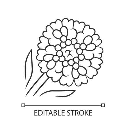 Candytuft linear icon. Thin line illustration. Aster garden flower. Iberis evergreen perennial plant. Blooming wildflower. Spring blossom. Contour symbol. Vector isolated drawing. Editable stroke