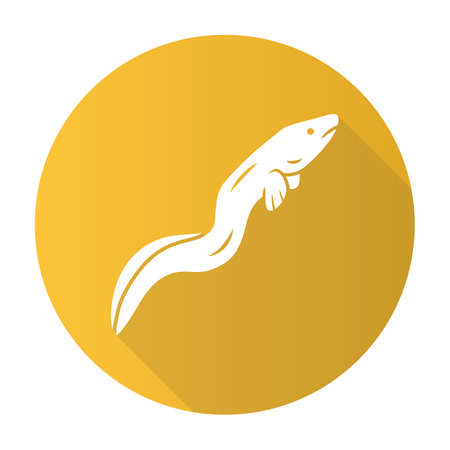 Eel yellow flat design long shadow glyph icon. Floating snakelike fish. Sea underwater animal with smooth skin. Asian seafood, sushi ingredient. Snake shape creature. Vector silhouette illustration
