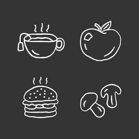 Delicious lunch chalk icons set. Hot tea, ripe apple, burger and natural mushrooms isolated vector chalkboard illustrations. Tasty breakfast, fast food and drink. Healthy and unhealthy nutrition Фото со стока - 129883450
