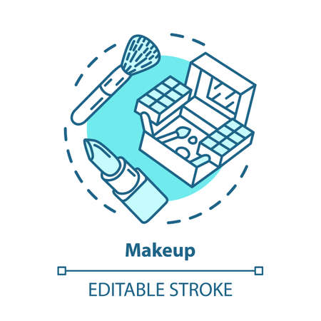 Makeup blue concept icon. Make up artist kit, equipment idea thin line illustration. Eye shadows, lipstick and brush vector isolated outline drawing. Cosmetics, beauty products. Editable stroke Иллюстрация