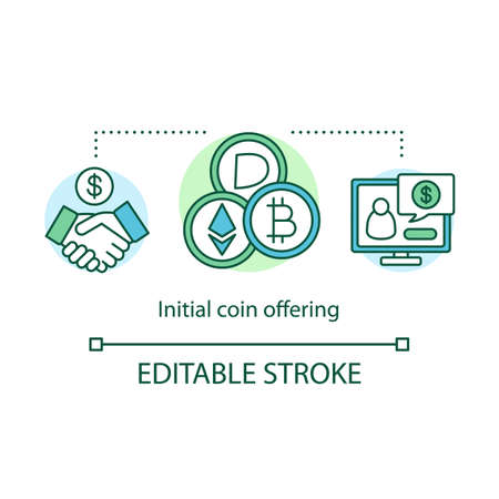 Initial coin offering concept icon. Cryptocurrency funding idea thin line illustration. Selling bitcoins to investor. Peer to peer network. Vector isolated outline drawing. Editable stroke Ilustracja