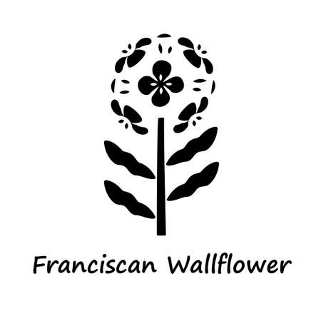 Franciscan wallflower glyph icon. Garden flowering plant with name inscription. Erysimum franciscanum. Blooming wildflower, weed. Silhouette symbol. Negative space. Vector isolated illustration