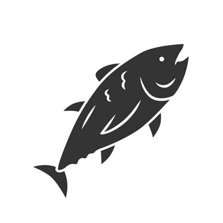 Tuna glyph icon. Swimming marine fish. Underwater inhabitant. Mackerel fishing. Seafood restaurant. Floating animal. Undersea world. Silhouette symbol. Negative space. Vector isolated illustration Stock Vector - 129883464