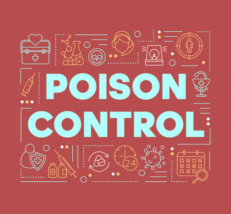Poison control word concepts banner. Toxin safety. Antidote development, research laboratory. Presentation, website. Isolated lettering typography idea with linear icons. Vector outline illustration