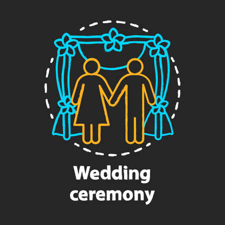 Wedding ceremony chalk concept icon. Engagement, marriage celebration event idea. Bride and groom. Bridal party. Newlyweds, just married. Vector isolated chalkboard illustration