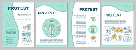 Public protest brochure template layout. Civil disobedience flyer, booklet, leaflet print design with linear illustrations. Vector page layouts for magazines, annual reports, advertising posters 向量圖像