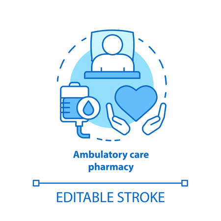 Pharmacy concept icon. Ambulatory care medication idea thin line illustration. Clinical, hospital patient medicine prescription, drug therapy. Vector isolated outline drawing. Editable stroke Иллюстрация