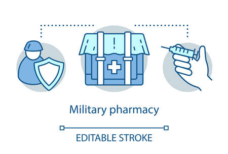 Pharmacy concept icon. Military wound and disease treatment idea thin line illustration. Practical medicine. Combat zone drugs and medical equipment. Vector isolated outline drawing. Editable stroke Иллюстрация