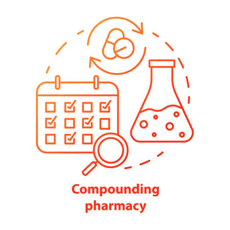 Compounding pharmacy concept icon. Personalized medications idea thin line illustration. Medication treatment schedule. Drugs mixing, compatibility. Vector isolated outline drawing