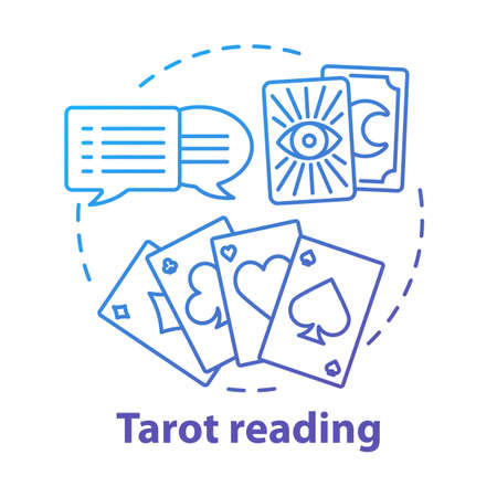 Tarot reading concept icon. Fortune telling, divination and cartomancy idea thin line illustration. Future prediction. Speech bubbles, playing and clairvoyant cards vector isolated outline drawing